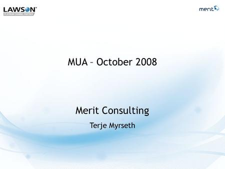 Merit Consulting Terje Myrseth MUA – October 2008.