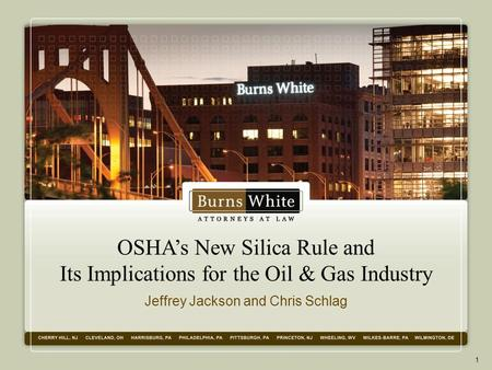 OSHA's New Silica Rule and Its Implications for the Oil & Gas Industry Jeffrey Jackson and Chris Schlag 1.