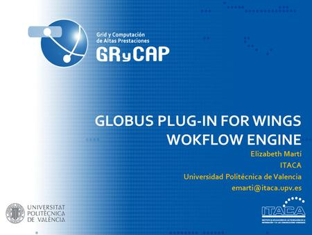 GLOBUS PLUG-IN FOR WINGS WOKFLOW ENGINE Elizabeth Martí ITACA Universidad Politécnica de Valencia