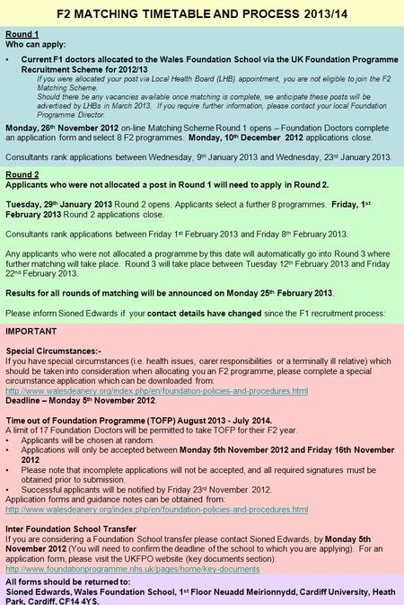 F2 MATCHING TIMETABLE AND PROCESS 2013/14 Round 1 Who can apply: Current F1 doctors allocated to the Wales Foundation School via the UK Foundation Programme.