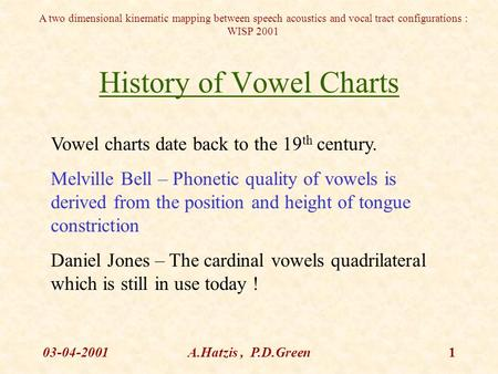 A two dimensional kinematic mapping between speech acoustics and vocal tract configurations : WISP 2001 03-04-2001A.Hatzis, P.D.Green1 History of Vowel.