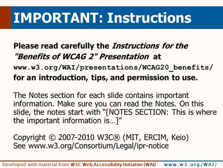Developed With Material From W3c Web Accessibility Initiative Wai