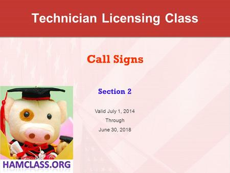 Technician Licensing Class Call Signs Section 2 Valid July 1, 2014 Through June 30, 2018.