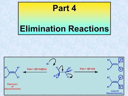 Part 4 Elimination Reactions – Learning Objectives Part 4 – Elimination Reactions After completing PART 4 of this course you should have an understanding.