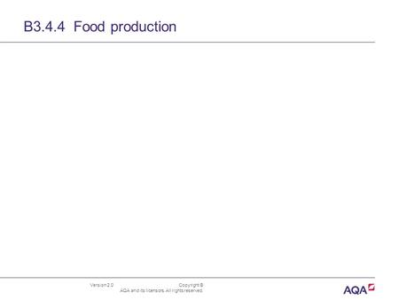 Version 2.0 Copyright © AQA and its licensors. All rights reserved. B3.4.4 Food production.