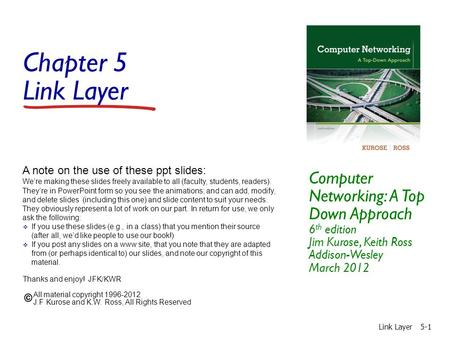 Chapter 5 Link Layer Computer Networking: A Top Down Approach 6th edition Jim Kurose, Keith Ross Addison-Wesley March 2012 A note on the use of these.