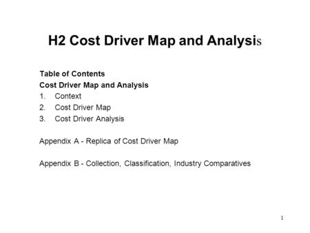 1 H2 Cost Driver Map and Analysi s Table of Contents Cost Driver Map and Analysis 1. Context 2. Cost Driver Map 3. Cost Driver Analysis Appendix A - Replica.