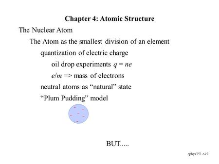 Cphys351 c4:1 Chapter 4: Atomic Structure The Nuclear Atom The Atom as the smallest division of an element quantization of electric charge oil drop experiments.