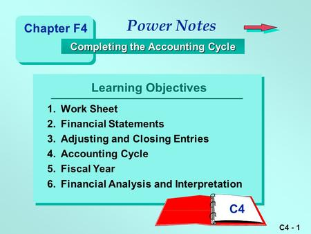 C4 - 1 Learning Objectives Power Notes Completing the Accounting Cycle Completing the Accounting Cycle 1.Work Sheet 2.Financial Statements 3.Adjusting.