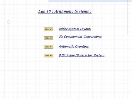 Lab 10 : Arithmetic Systems : Adder System Layout: Slide #2 Slide #3 Slide #4 Slide #5 Arithmetic Overflow: 2's Complement Conversions: 8 Bit Adder/Subtractor.