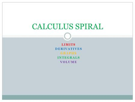 LIMITS DERIVATIVES GRAPHS INTEGRALS VOLUME CALCULUS SPIRAL.