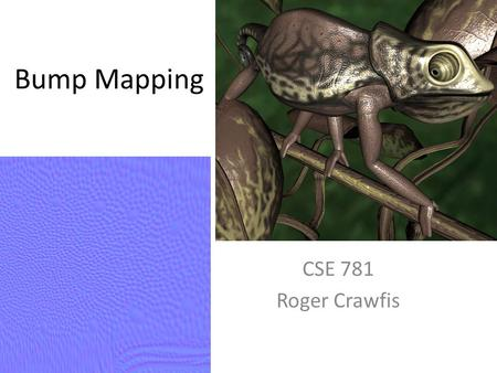 Bump Mapping CSE 781 Roger Crawfis.
