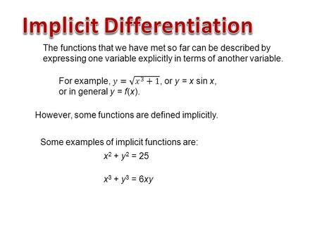 Ppt implicit differentiation powerpoint presentation, free.