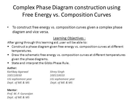 Complex Phase Diagram construction using Free Energy vs. Composition Curves Author: Kartikay Agarwal Shrey Singh 10D110030 10D110010 UG sophomore year.