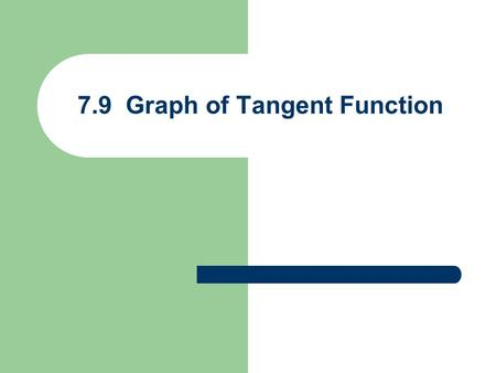 7.9 Graph of Tangent Function. Graph of y = tanx Period = Amplitude = not defined x y 1 –1.