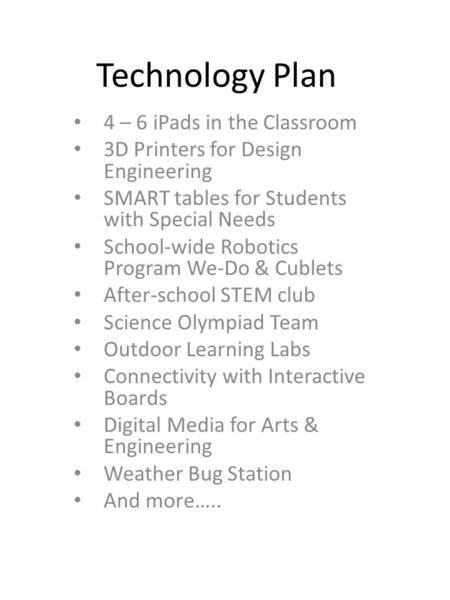 Technology Plan 4 – 6 iPads in the Classroom 3D Printers for Design Engineering SMART tables for Students with Special Needs School-wide Robotics Program.