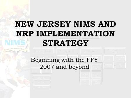 NEW JERSEY NIMS AND NRP IMPLEMENTATION STRATEGY Beginning with the FFY 2007 and beyond.