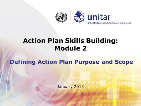 Action Plan Skills Building: Module 2 Defining Action Plan Purpose and Scope January 2013.