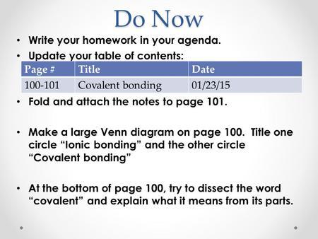 Do Now 21010 Create A Venn Diagram Of Covalent Bonds Versus