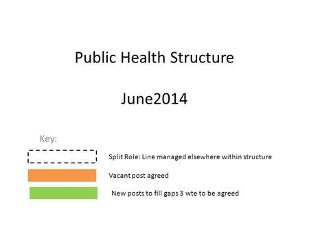 Public Health Structure June2014 Key: Split Role: Line managed elsewhere within structure Vacant post agreed New posts to fill gaps 3 wte to be agreed.