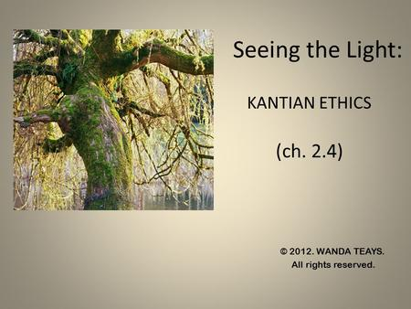 Seeing the Light: KANTIAN ETHICS (ch. 2.4)