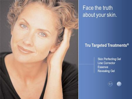 Face the truth about your skin. Tru Targeted Treatments ®   Skin Perfecting Gel Line Corrector Essence Revealing Gel.