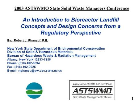 2003 ASTSWMO State Solid Waste Managers Conference