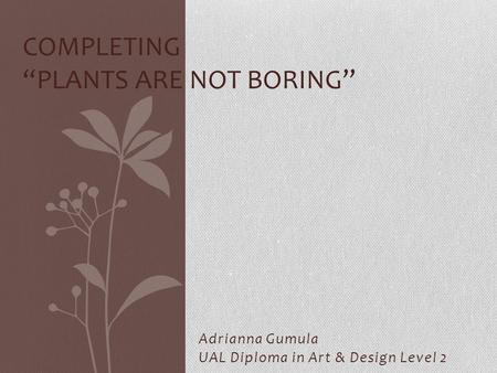 "Adrianna Gumula UAL Diploma in Art & Design Level 2 COMPLETING ""PLANTS ARE NOT BORING"""