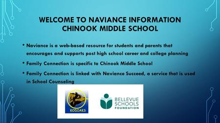 WELCOME TO NAVIANCE INFORMATION CHINOOK MIDDLE SCHOOL Naviance is a web-based resource for students and parents that encourages and supports post high.