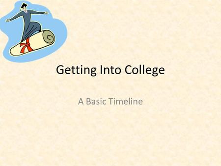 Getting Into College A Basic Timeline. Things to Consider when Choosing a College GPA SAT/ ACT Scores Major Geographic location Size.