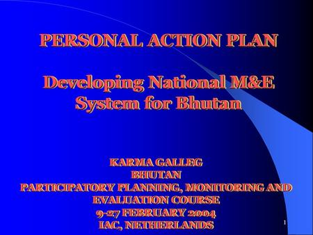1 PERSONAL ACTION PLAN Developing National M&E System for Bhutan KARMA GALLEG BHUTAN PARTICIPATORY PLANNING, MONITORING AND EVALUATION COURSE 9-27 FEBRUARY.