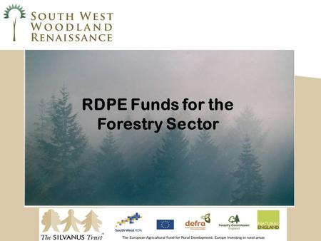 RDPE Funds for the Forestry Sector. What SW Woodland Renaissance? Woodland Renaissance is a partnership of private and public enterprises, working to.