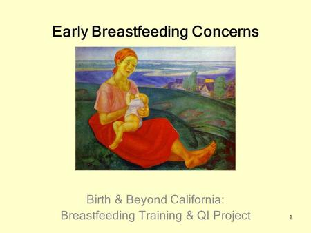 1 Early Breastfeeding Concerns Birth & Beyond California: Breastfeeding Training & QI Project.