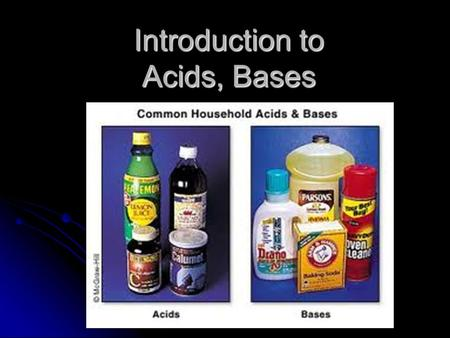 Introduction to Acids, Bases