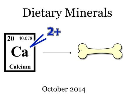 Dietary Minerals October 2014. REMINDER These slides are supplementary notes to help you visualize important parts of the chalkboard lectures. They do.