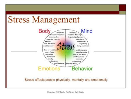 Copyright 2012 Center For Whole Self Health Stress Management Stress affects people physically, mentally and emotionally.