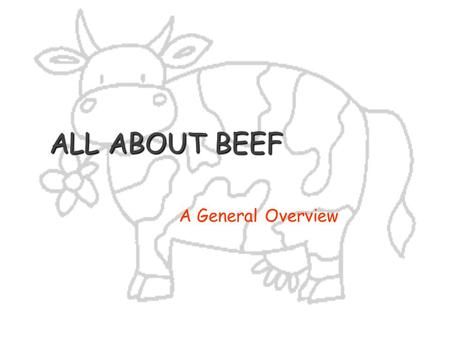 ALL ABOUT BEEF A General Overview.
