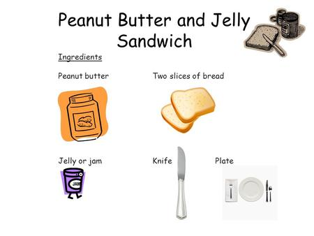 Peanut Butter and Jelly Sandwich Ingredients Peanut butterTwo slices of bread Jelly or jamKnifePlate.
