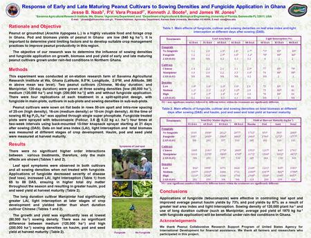 Response of Early and Late Maturing Peanut Cultivars to Sowing Densities and Fungicide Application in Ghana Jesse B. Naab 1, P.V. Vara Prasad 2*, Kenneth.