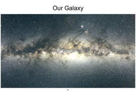 Our Galaxy `. Interstellar dust obscures our view at visible wavelengths along lines of sight that lie in the plane of the galactic disk.