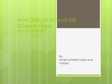 Most Difficult Aspects ESL Students Have Listening/Speaking By: Minerva,Peter,Maria and Natalia.