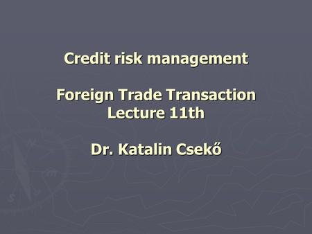 Credit risk management Foreign Trade Transaction Lecture 11th Dr. Katalin Csekő.