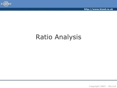Ratio Analysis.