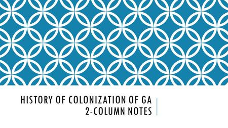 "HISTORY OF COLONIZATION OF GA 2-COLUMN NOTES. COLONIES BEFORE GEORGIA o Left hand side: o England had settled 12 colonies. o ""Carolina"" was founded in."