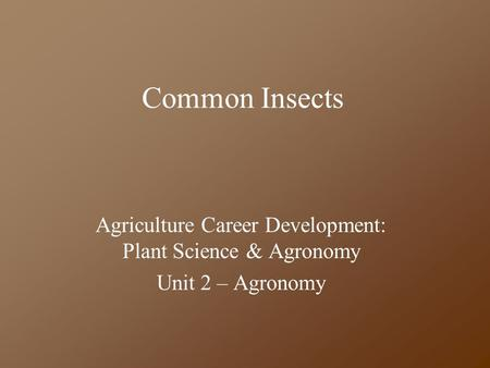 Common Insects Agriculture Career Development: Plant Science & Agronomy Unit 2 – Agronomy.