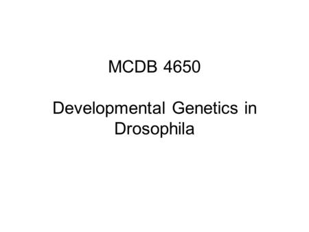 MCDB 4650 Developmental Genetics in Drosophila