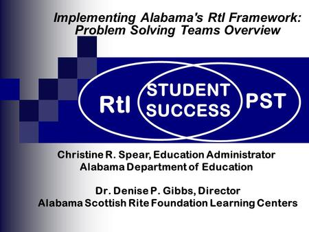 Dr. Denise P. Gibbs, Director Alabama Scottish Rite Foundation Learning Centers PST RtI STUDENT SUCCESS Christine R. Spear, Education Administrator Alabama.