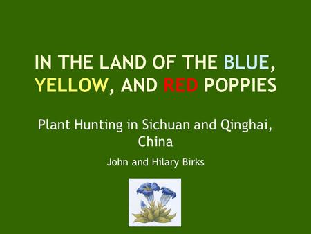 IN THE LAND OF THE BLUE, YELLOW, AND RED POPPIES Plant Hunting in Sichuan and Qinghai, China John and Hilary Birks.