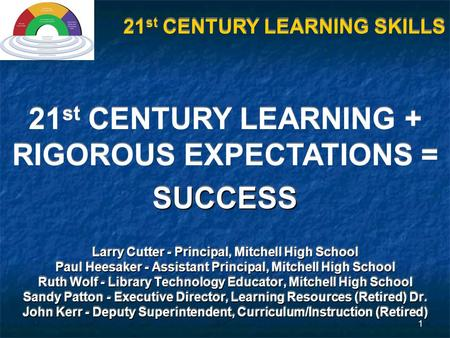 1 21 st CENTURY LEARNING + RIGOROUS EXPECTATIONS =SUCCESS SUCCESS Larry Cutter - Principal, Mitchell High School Paul Heesaker - Assistant Principal, Mitchell.