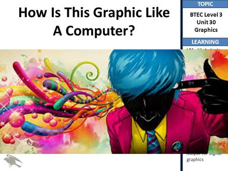 TOPIC LEARNING BTEC Level 3 Unit 30 Graphics L01- All students will understand the role of a number of pieces of hardware in the creation of graphics (P)